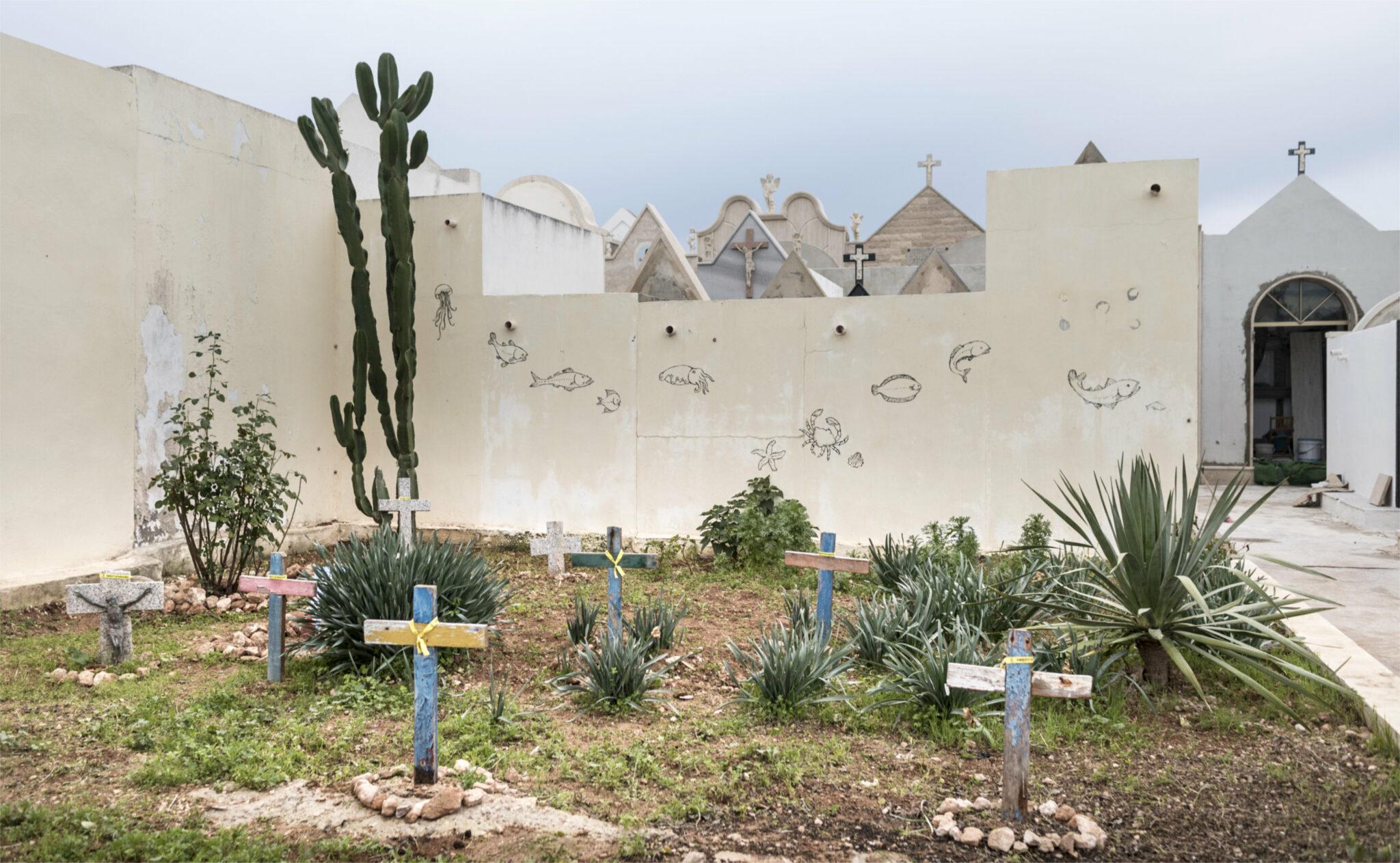 Friedhof auf der italienischen Insel Lampedusa