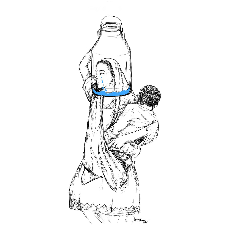 Eine Mutter trägt ein Wasserbehälter auf dem Kopf und füllt ihn mit ihren Tränen